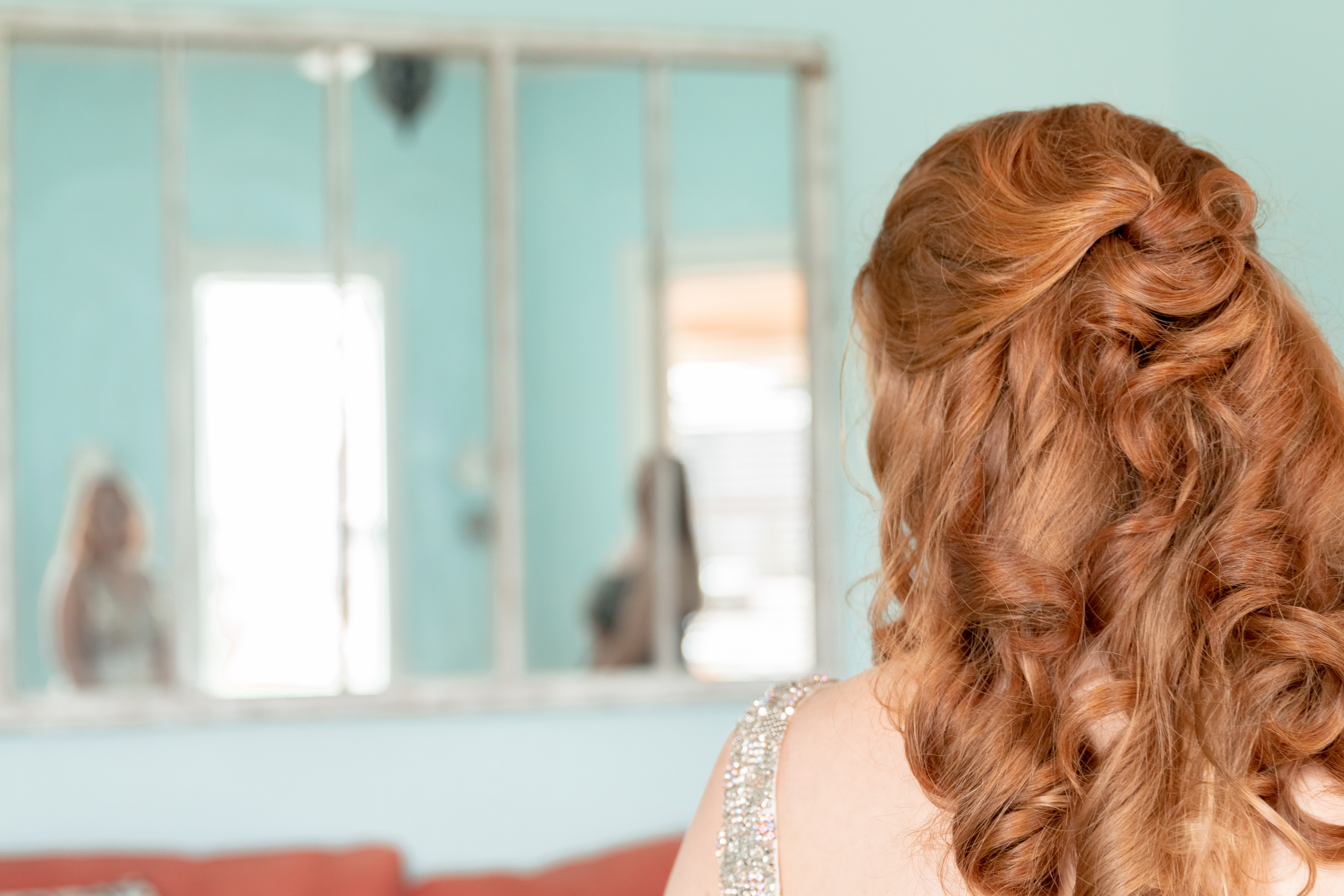 Knotted Half-up Half-down curly hairstyle | Red Hair Bride Regis Salon | Annie Elise Photography