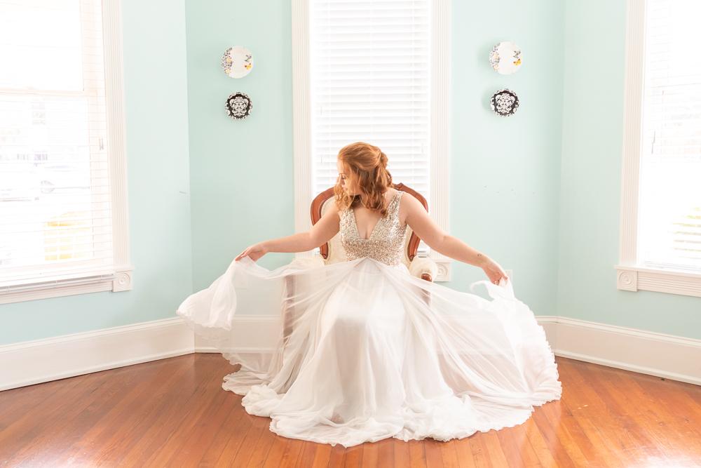 Red Haired Bride | Sequin Wedding Dress | Bridal Portrait | Annie Elise Photography