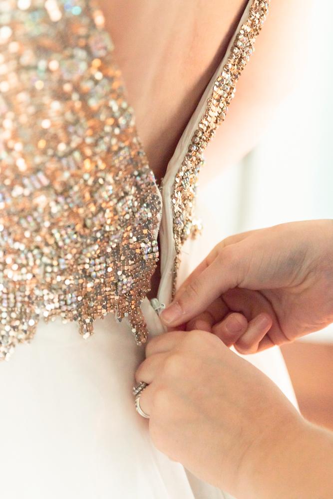 Gulfport Beach Wedding | Sequin Dress Back Zipper | Annie Elise Photography