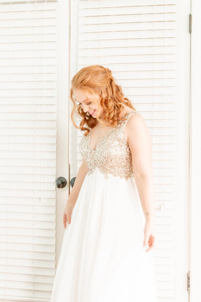 Gulfport Beach Wedding | Sequin Dress | Natural Light | Spinning | Annie Elise Photography
