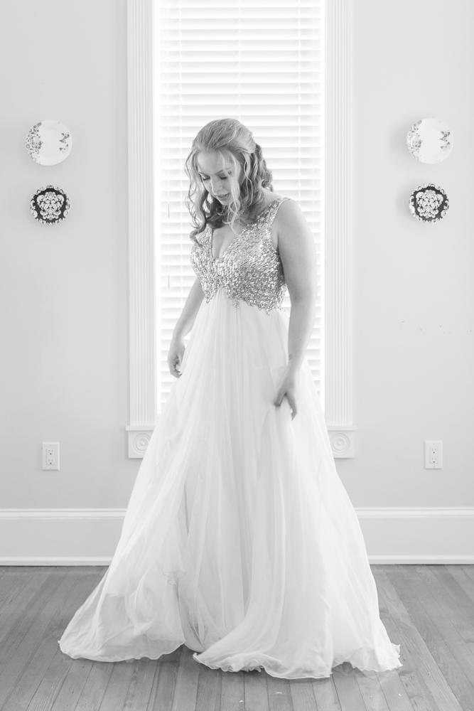 Gulfport Beach Wedding | Sequin Dress| Black and white bridal portrait | Annie Elise Photography