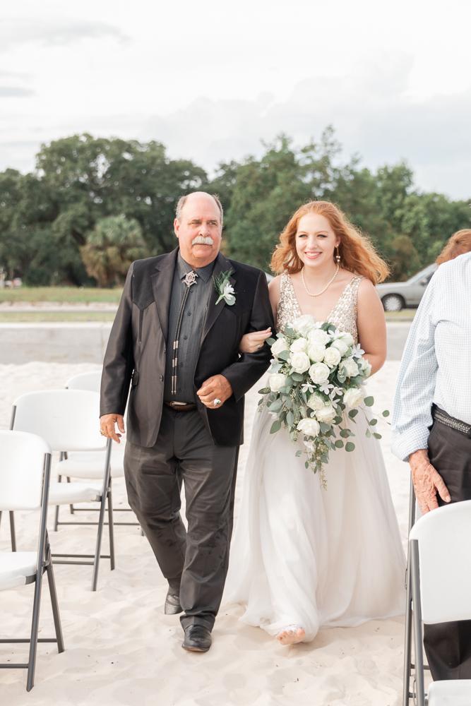 Gulfport Beach Wedding | Annie Elise Photography | bride with dad walking down aisle