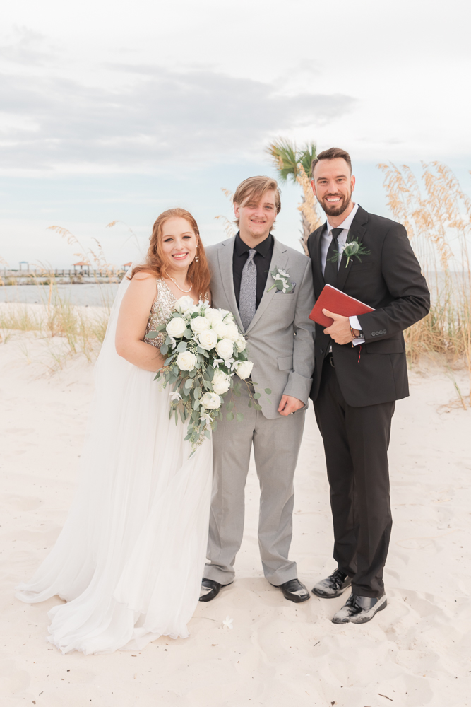Gulfport Beach Wedding | Annie Elise Photography | formal with celebrant and pastor