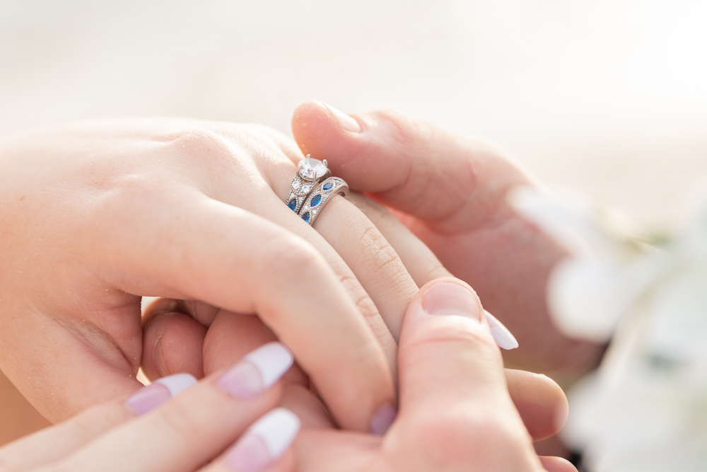 Gulfport Beach Wedding | Annie Elise Photography | rings and wedding band holding hands