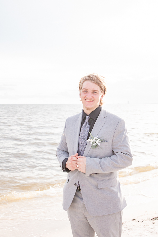 Gulfport Beach Wedding | Annie Elise Photography | groom portrait on beach