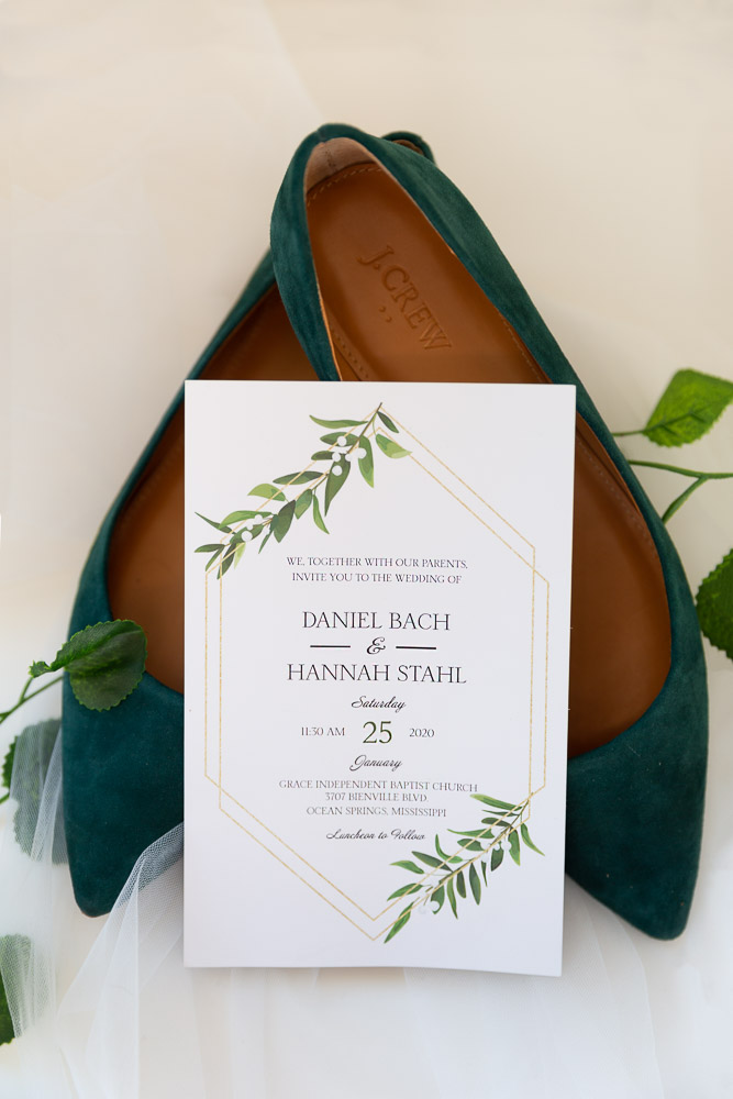 Annie Elise Photography | Wedding invitation | emerald flats | green shoes | wedding details | wedding flatlay