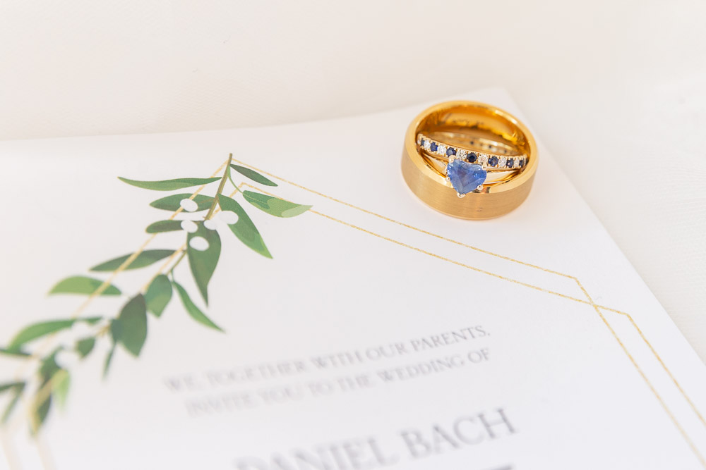 Annie Elise Photography | Ring Shot | Detail | Blue Sapphire | Engagement Ring | Wedding Bands