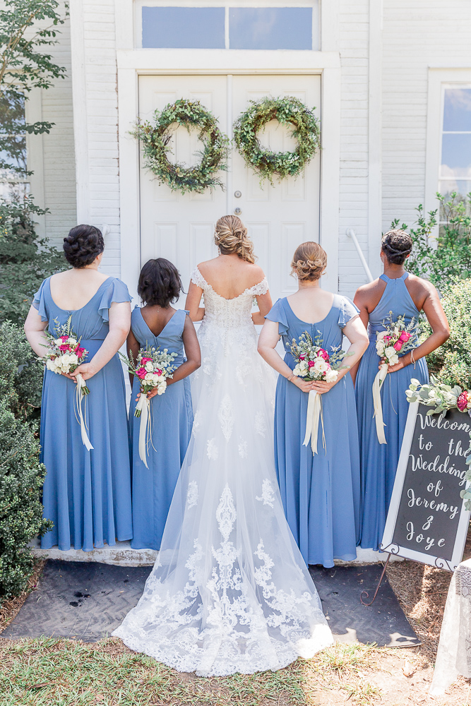 Annie Elise Photography | Bridesmaids | Dusty Blue Wedding Color | Burgundy Flowers | Radiant Bride | I do Bridal | African Bridesmaid | David's Bridal