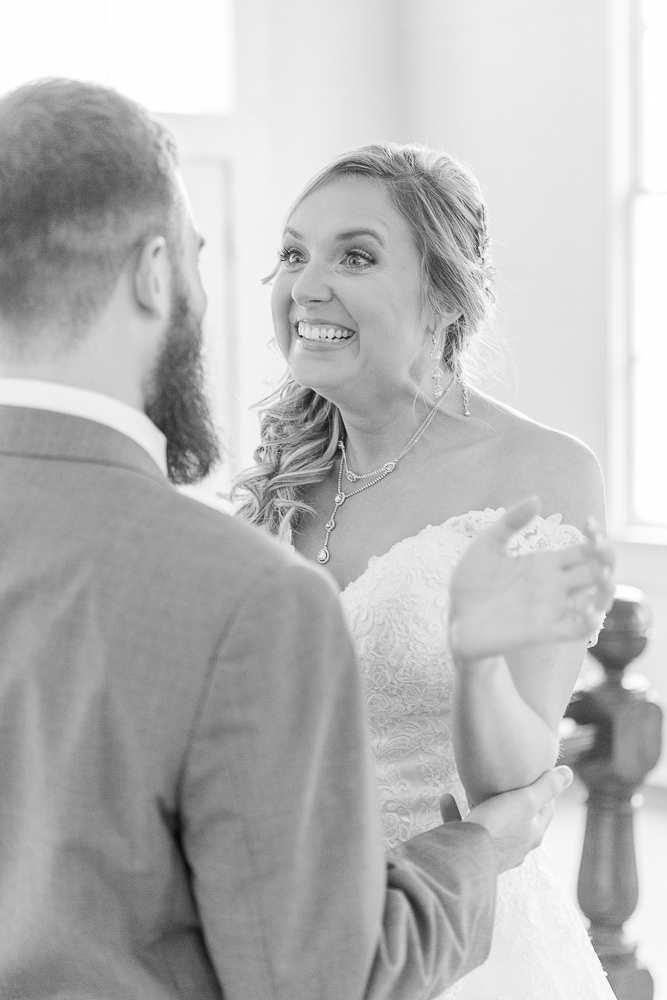 Annie Elise Photography | Ceremony | Excited Bride | Slate Blue Wedding