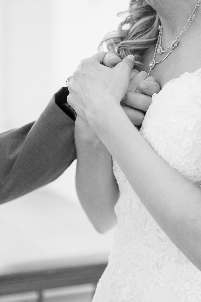 Annie Elise Photography | Black and white hands | Slate Blue Wedding