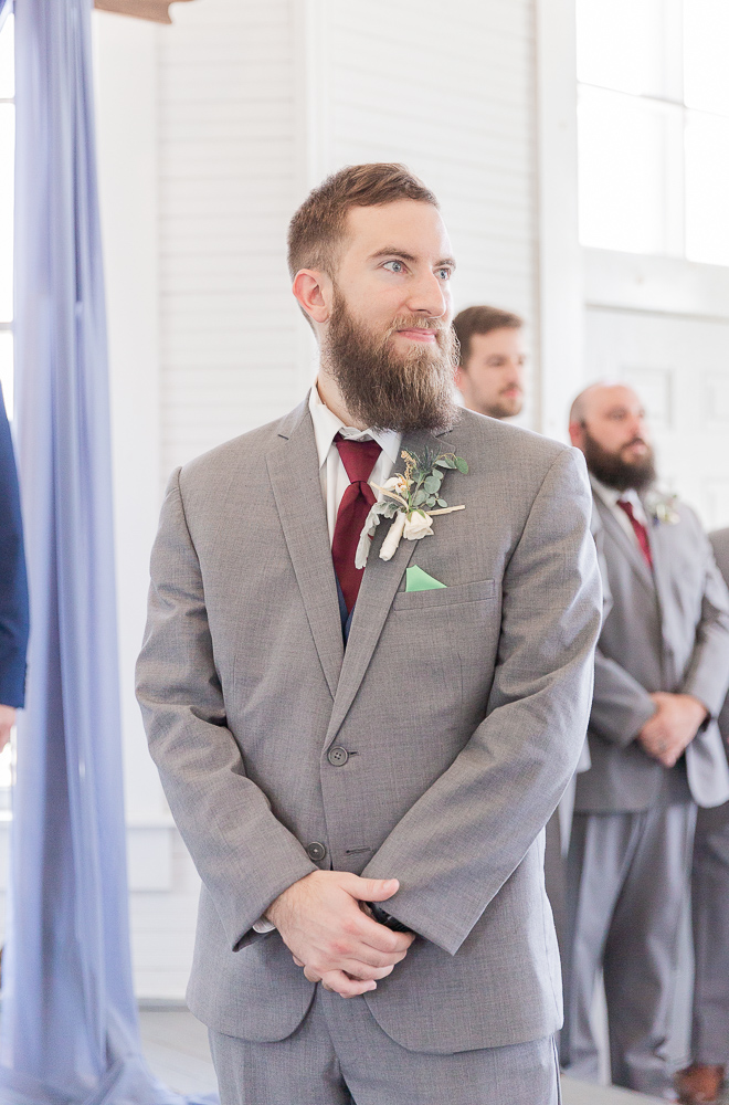 Annie Elise Photography | Ceremony | Clark's Chapel Inside | Flower Arbor | Slate Blue Wedding | Groom's First look