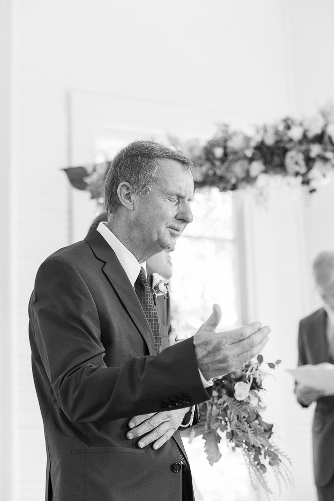 Annie Elise Photography | Ceremony | Clark's Chapel Inside | Bride's dad crying