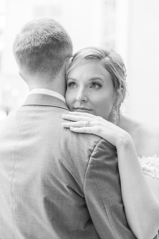 Mississippi Wedding Photographer | Grassy Field Bride and Groom Portraits | Wedding Dress | Bliss Bridal | black and white