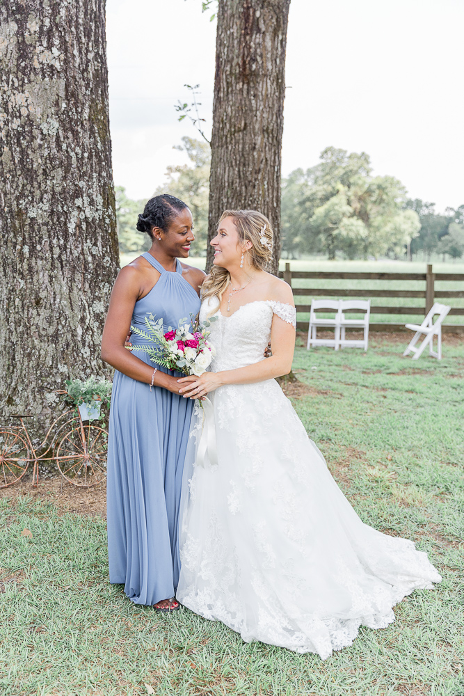 Annie Elise Photography | Bridesmaids | Dusty Blue Wedding Color | Burgundy Flowers | Radiant Bride | I do Bridal