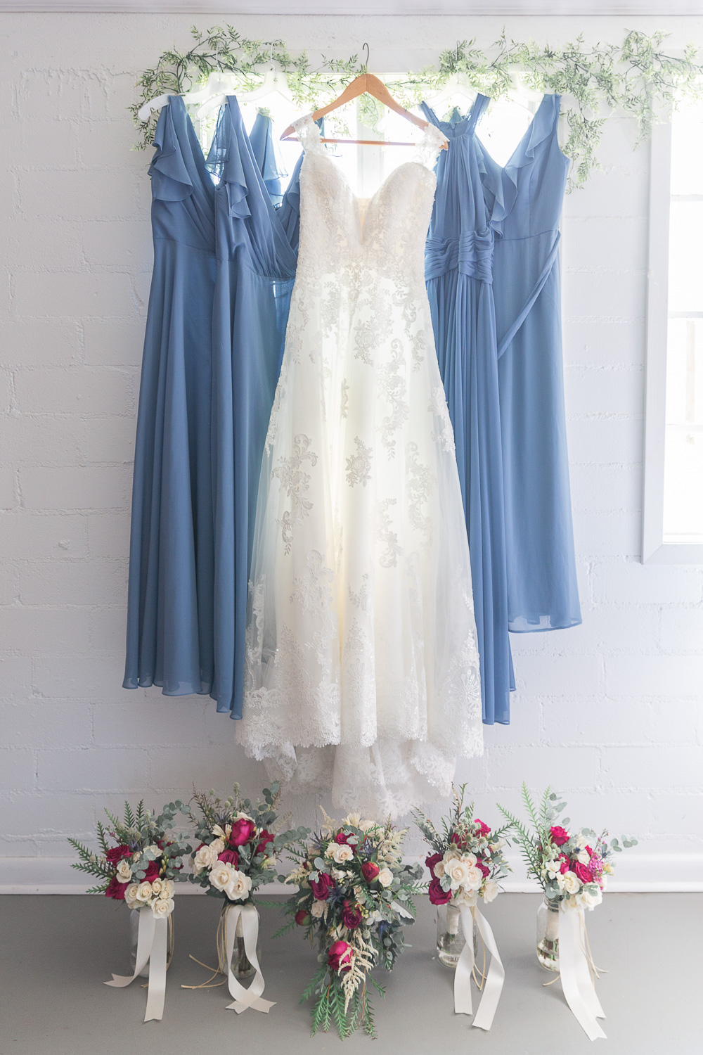 Annie Elise Photography | White Chapel Wedding | Bride detail  | Dusty Blue Wedding Color | Bridesmaids Flowers and Dresses