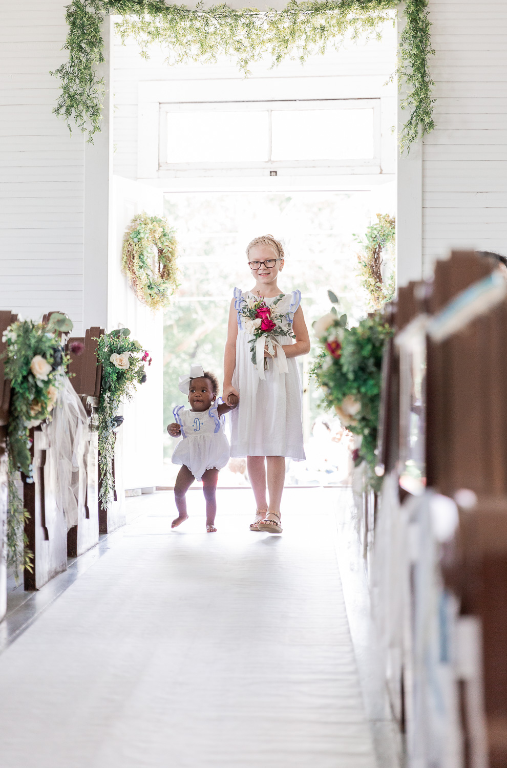 Annie Elise Photography | Ceremony | Clark's Chapel Inside | Flower Arbor | Slate Blue Wedding | Flower girls