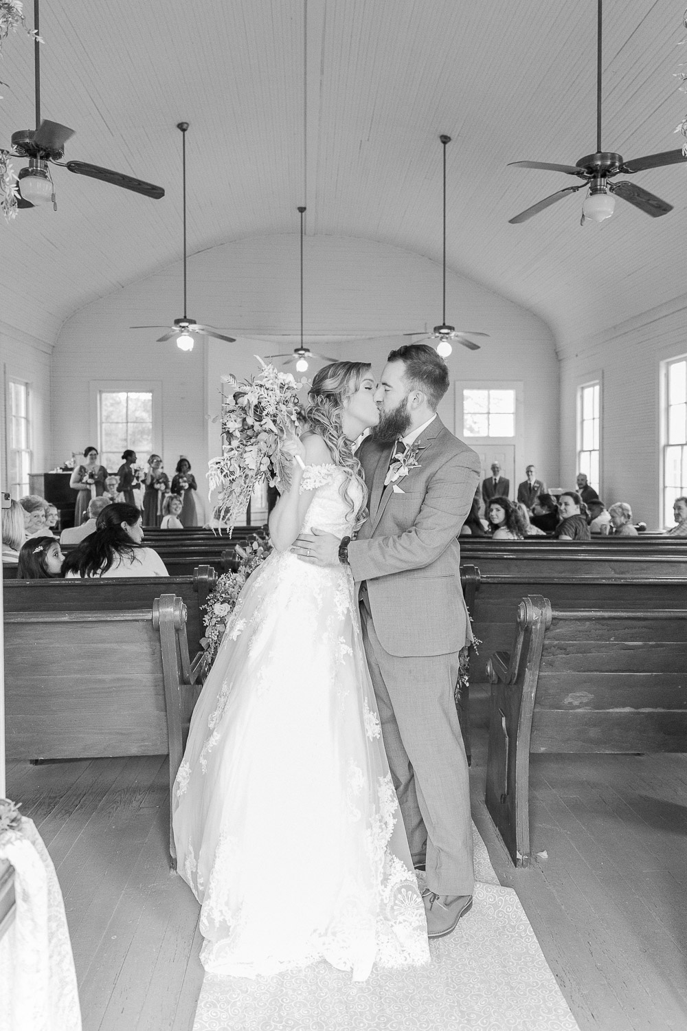 Mississippi Wedding Photographer | Bride and groom portrait | Just married | black and white | State Line, MS