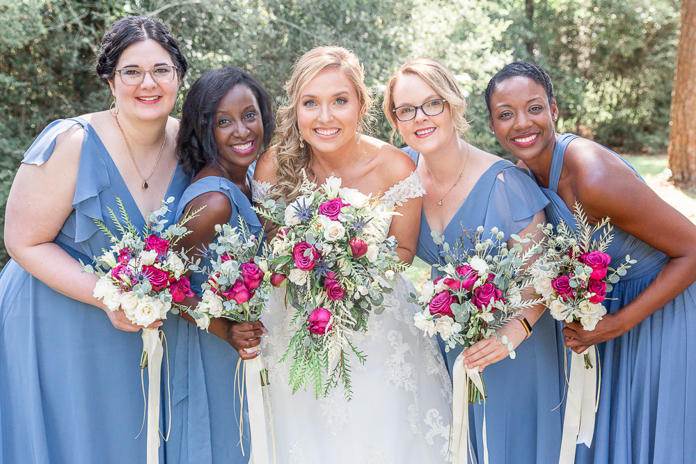 Annie Elise Photography | Bridesmaids | Dusty Blue Wedding Color | Burgundy Flowers | Radiant Bride | I do Bridal | African Bridesmaid