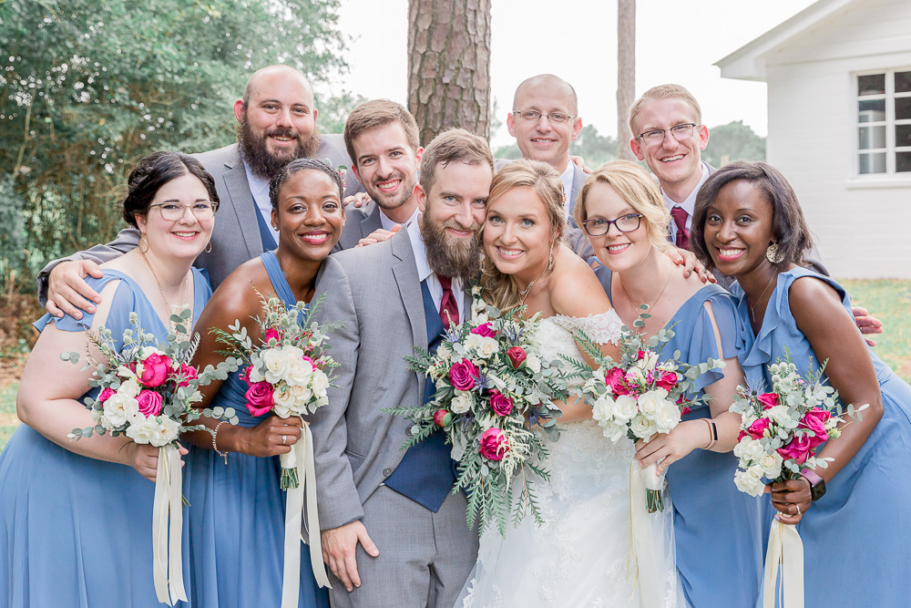 Annie Elise Photography | Ceremony | Bridal Party hug | African American Wedding | Slate Blue Wedding
