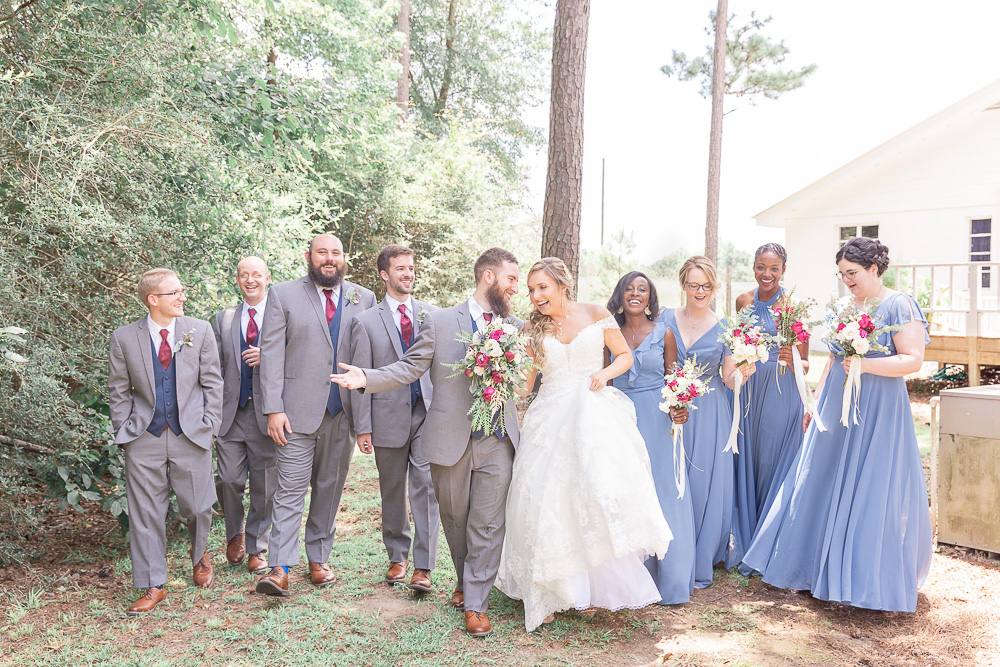 Annie Elise Photography | Ceremony | Bridal Party walking | Slate Blue Wedding