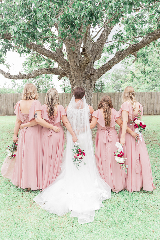 Annie Elise Photography | The Stables Venue | Vancleave, MS | Rustic Barn Wedding | Bridesmaids under oak tree