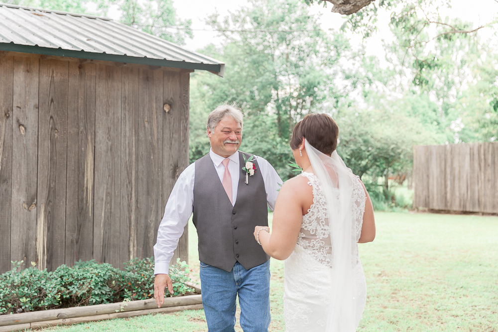 Annie Elise Photography | The Stables Venue | Vancleave, MS | Rustic Barn Wedding | First look with dad