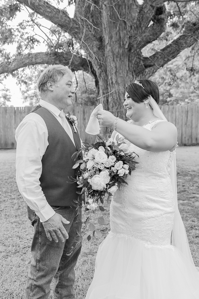 Annie Elise Photography | The Stables Venue | Vancleave, MS | Rustic Barn Wedding | First look with dad | Black and White