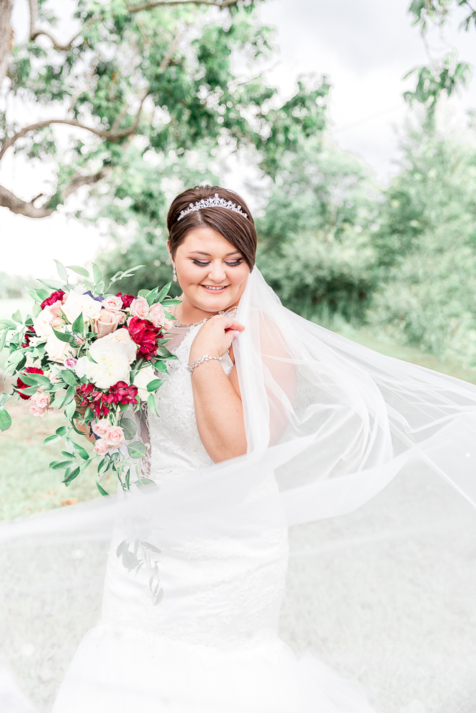 Annie Elise Photography | The Stables Venue | Vancleave, MS | Rustic Barn Wedding | Bridal portrait | veil shot