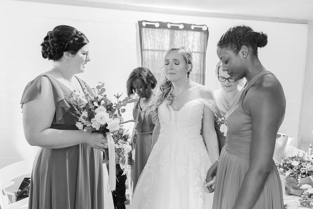 Annie Elise Photography | Ceremony | Clark's Chapel Inside | Flower Arbor | Slate Blue Wedding | Emotional prayer