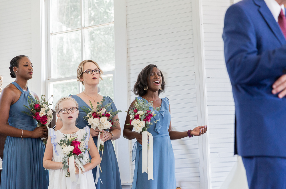 Annie Elise Photography | Ceremony | Clark's Chapel Inside | Flower Arbor | Slate Blue Wedding | Worship