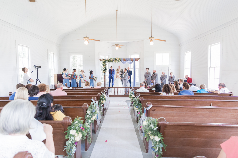 Annie Elise Photography | Ceremony | Clark's Chapel Inside | Flower Arbor | Slate Blue Wedding
