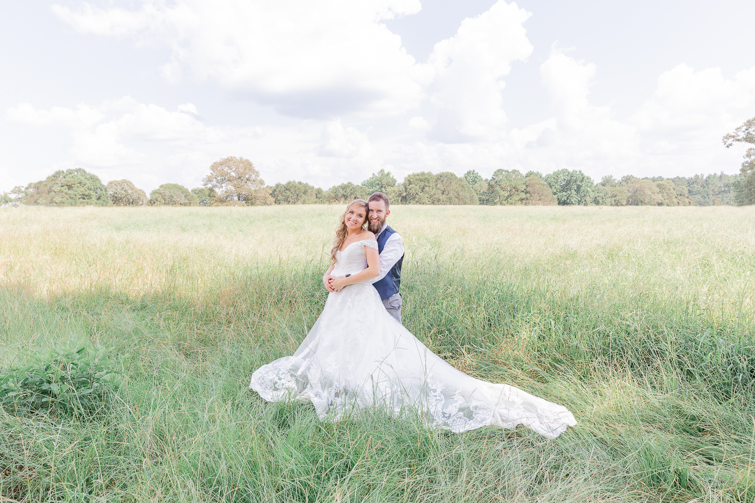 Mississippi Wedding Photographer | State Line, Mississippi | Grassy Field Bride and Groom Portraits | Wedding Dress | Bliss Bridal | I Do Bridal | Couple's Portraits